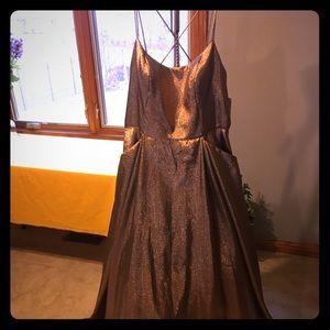 David's Bridal Gold/Copper long sz19 Blondie Nile